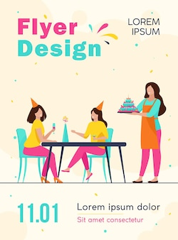 Happy women celebrating birthday and drinking alcohol flyer template