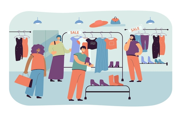 Happy women choosing clothes in store flat illustration.