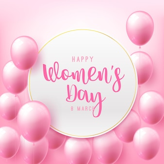 Happy women day 8 march text calligraphy with beautiful flying balloon