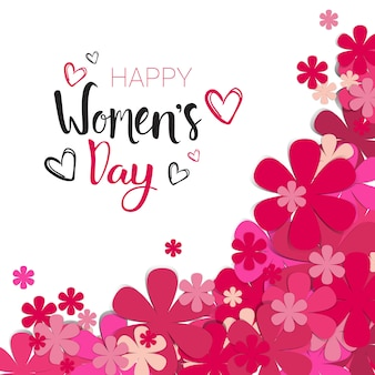 Happy women day background with pink flowers and lettering calligraphy 8 march holiday card