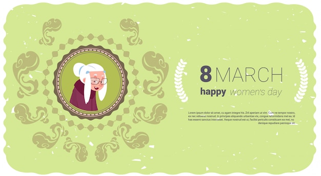 Happy women day banner with cute senior lady