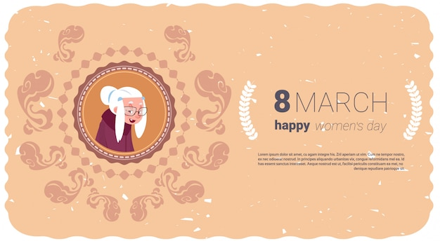 Happy women day banner with grandmother
