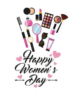 Счастливая женская дневная открытка с иконками макияжа вокруг