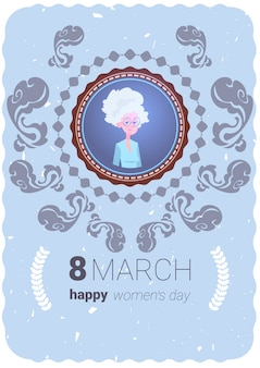Happy women day greeting card with cute grandmother 8 march holiday concept