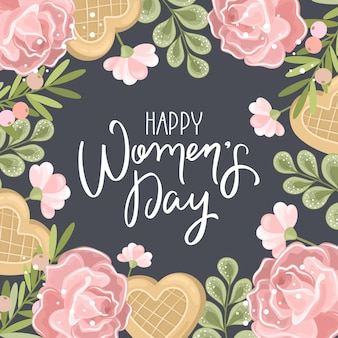 Happy women day greeting card with hand drawn flowers background