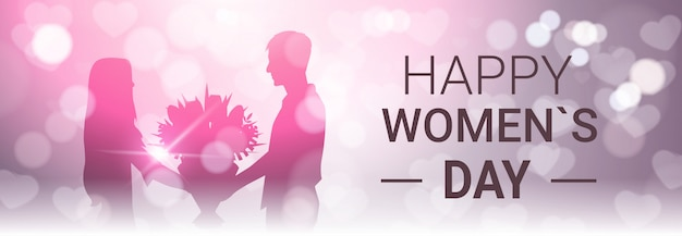 Happy women day horizontal banner with silhouette man present girl bouquet of flowers beautiful bokeh