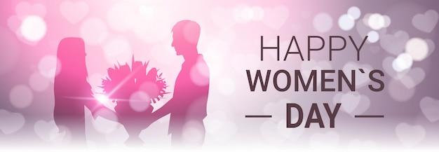 Счастливый женский день горизонтальный баннер с силуэтом человека подарок девушке букет цветов красивое боке