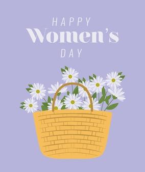 幸せな女性の日のレタリングと白い花のイラストの束とピクニックバスケット