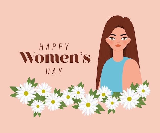 Счастливый женский день надписи, женщина с каштановыми волосами и иллюстрация цветов