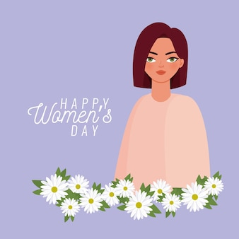 Happy women day lettering and woman with withe flowers  illustration