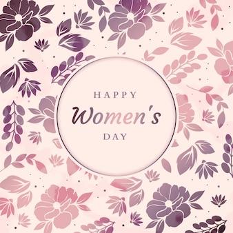 花の背景に幸せな女性の日メッセージ