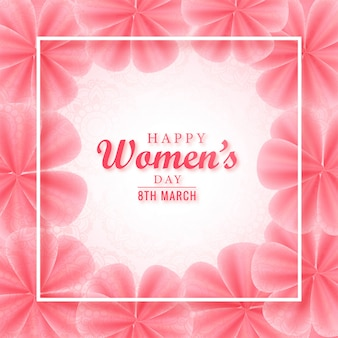 Happy women day pink floral greeting card