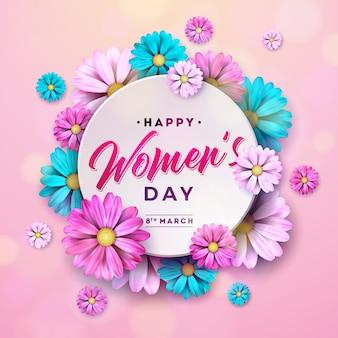 Happy women day цветочная открытка