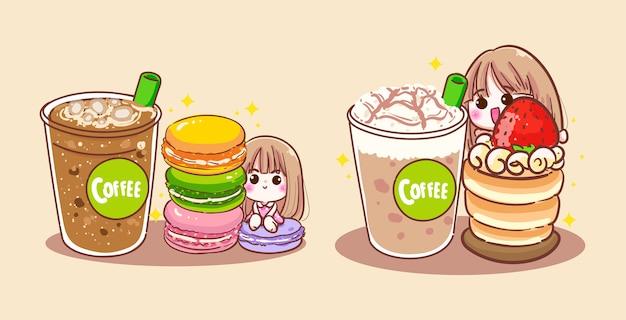コーヒーカップを飲んで、おいしいパン屋を食べて幸せな女性