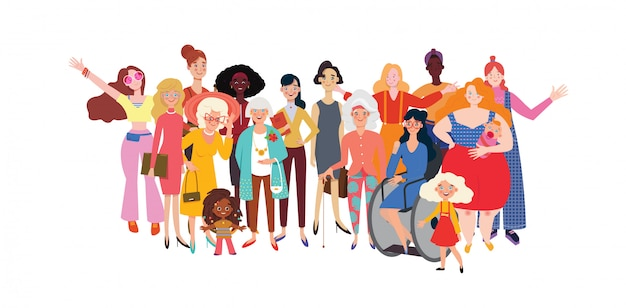 Happy women and girls standing together.  group of female friends, union of feminists, sisterhood. horizontal banner template on international women's day