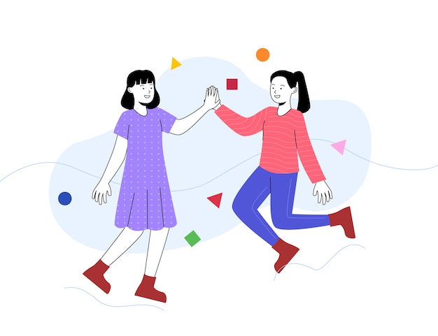 Happy women high five and jumps illustration