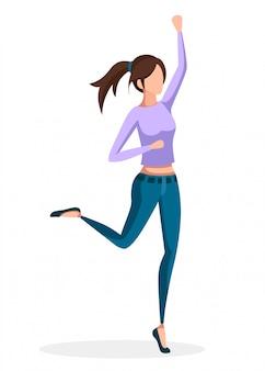 점프 청바지에 행복 한 여자입니다. 만화 캐릭터. 얼굴이 없습니다. 흰색 배경에 그림