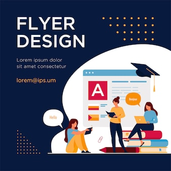 Happy women learning language online isolated flat flyer template