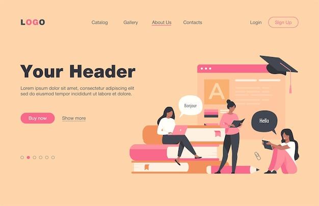 言語をオンラインで学ぶ幸せな女性は、フラットなランディングページを分離しました。メッセンジャーを介して個別のレッスンを受ける漫画の女性キャラクター。教育とデジタル技術の概念