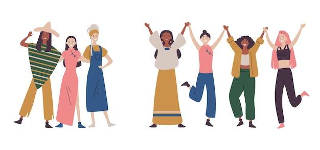 행복한 여자 또는 여자가 함께 서서 손을 잡고