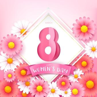 Счастливый женский день 8 марта текст каллиграфии с красивым цветком