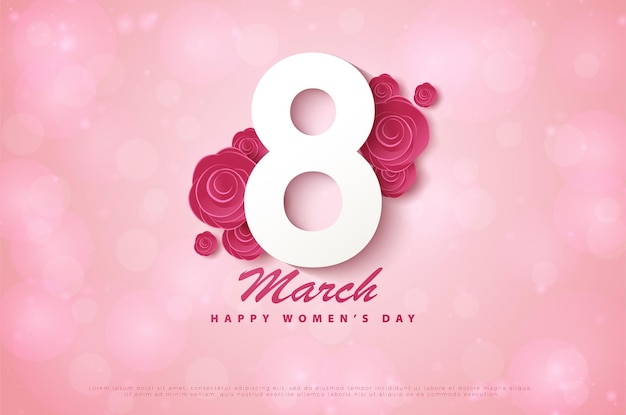 Happy women's day 8 march with 3d figures covering flowers.