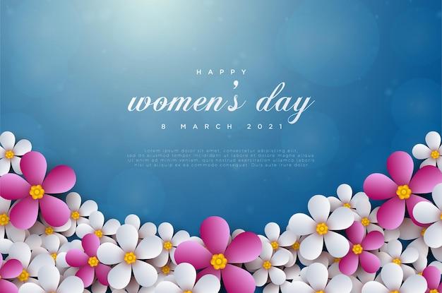 花と幸せな女性の日3月8日