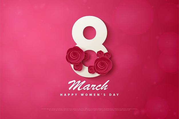 Счастливый женский день 8 марта с номером, украшенным красными розами.