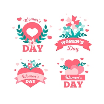 Happy women's day all around the world flat badge collection