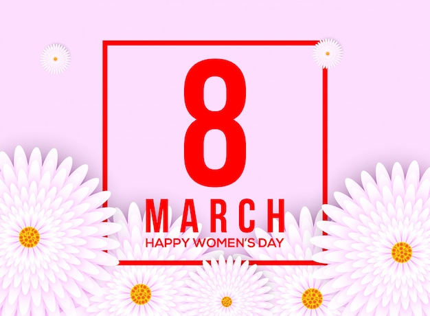 Happy women's day background with flower element
