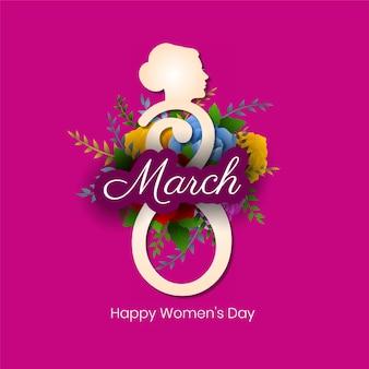 花と幸せな女性の日の背景