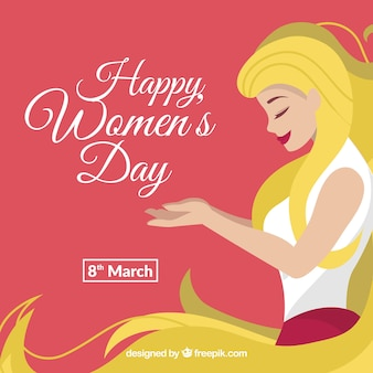 Happy women's day background with a long haired blonde