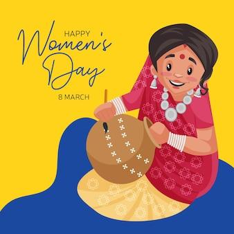 Счастливый женский день дизайн баннера с индийской женщиной, рисующей на горшке