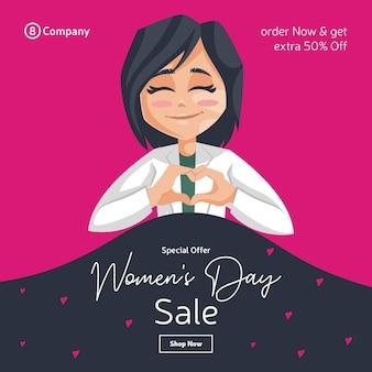 Счастливый женский день дизайн баннера с леди-врачом, создающей знак сердца рукой