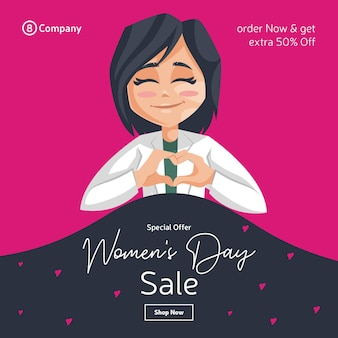 Happy women's day banner design with lady doctor creating a heart sign with hand