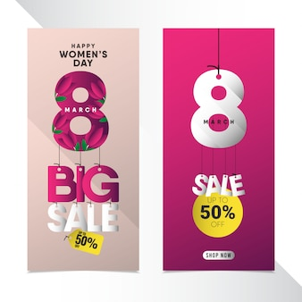 Happy women's day banner template set