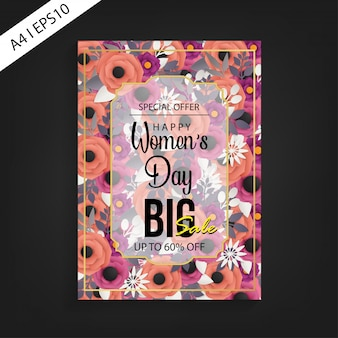 Happy women's day big sale flyer template