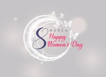 フライング・バタフライと幸せな女性の日のカードのデザイン