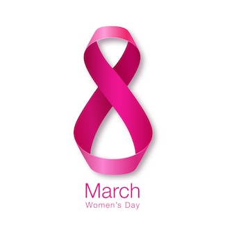 Happy women's day card. realistic ribbon march 8 greeting card. vector