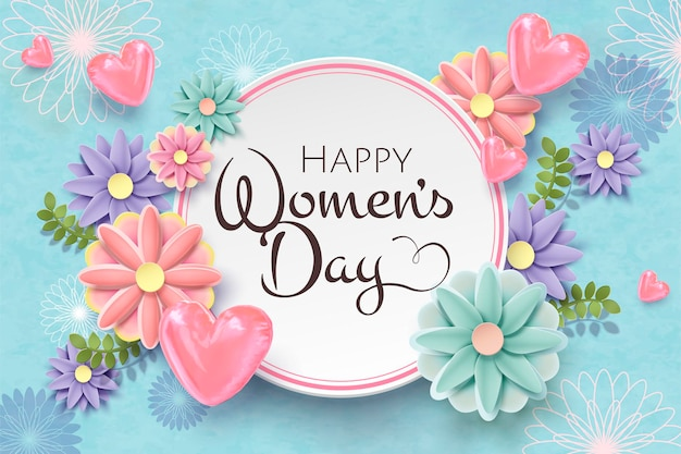 Happy women's day card template with paper flowers and pink foil balloons