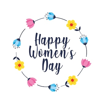 Happy women's day card with crown of flowers.  illustration