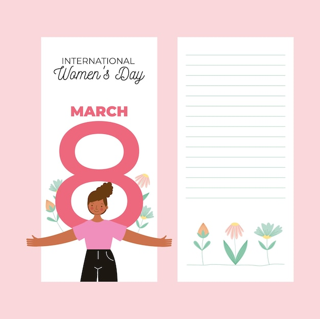 Happy women's day cards with african girl and eight number with flowers.  illustration