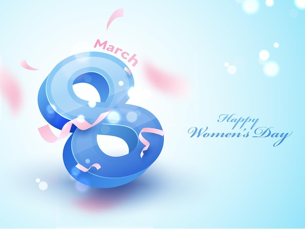Happy women's day concept with 3d 8 number of march on blue bokeh blur background.