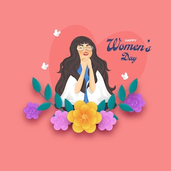 Happy women's day concept with cheerful young girl character