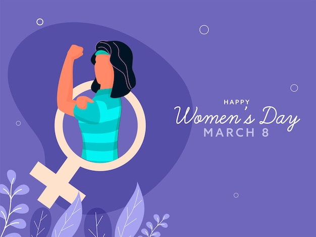 Happy women's day concept with faceless female showing her strong arm