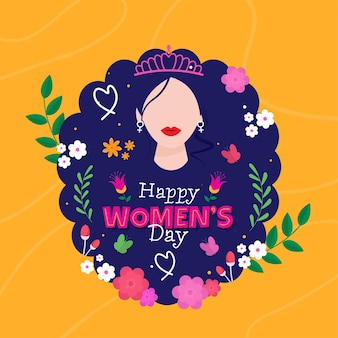 Happy women's day concept with faceless female wear tiara