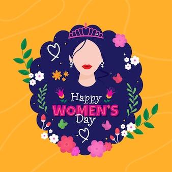 익명의 여성 착용 티아라와 함께 행복한 여성의 날 개념