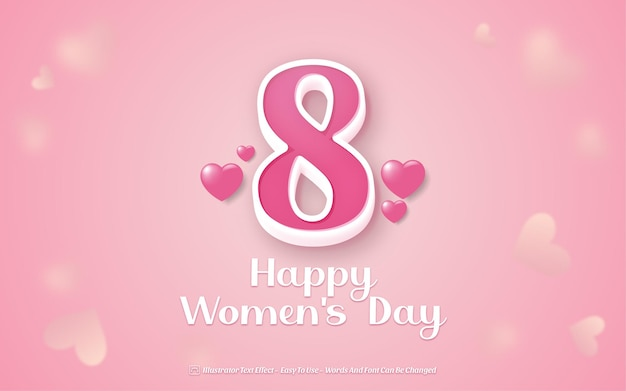 Happy women's day - editable text effect style