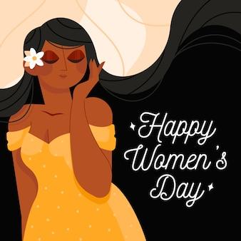 Femmina felice del giorno delle donne con il fiore in suoi capelli