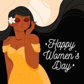 彼女の髪に花を持つ幸せな女性の日女性